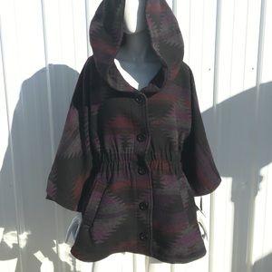 NEW Steve Madden Aztec Cape Blanket Coat NWT Warm